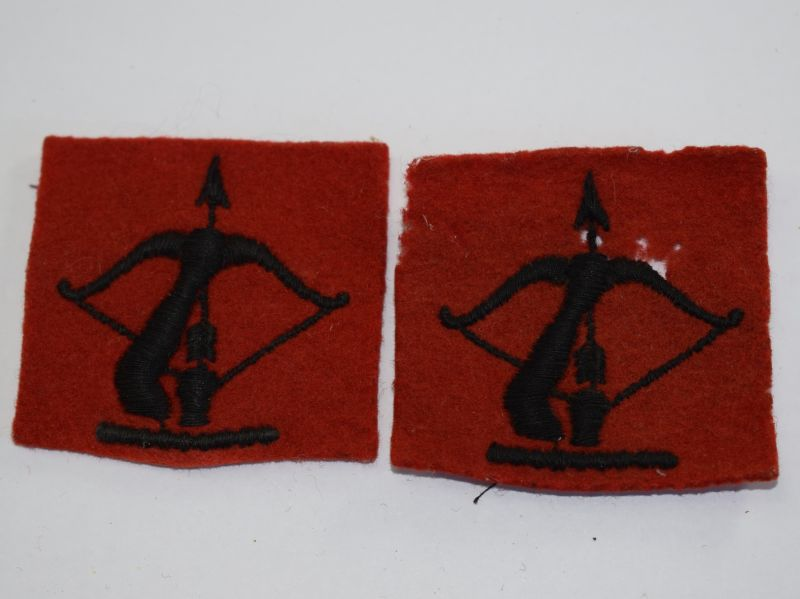 12 Good Original WW2 Woven Anti-Aircraft Cloth Insignia Pair