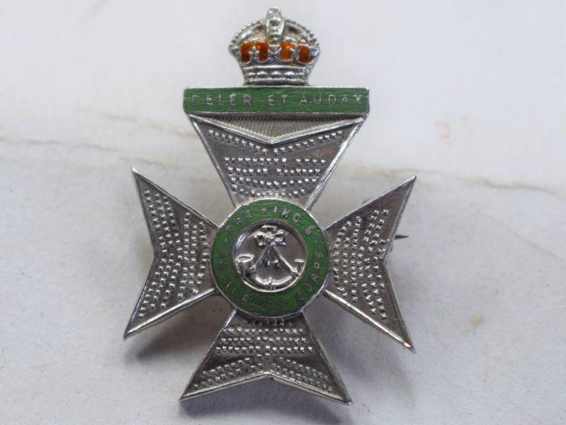 O) Very Nice WW1 WW2 Kings Royal Rifle Corps Pin Back Sweetheart Brooch