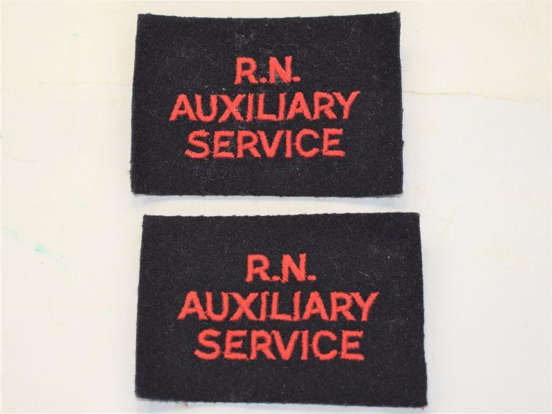 U) Original Post WW2 Royal Naval Auxiliary Service Cloth Badges