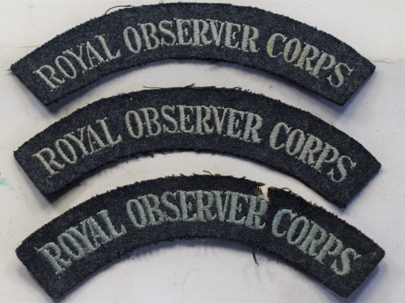 W) Set of 3 Cloth Shoulder Titles to the Royal Observer Corps