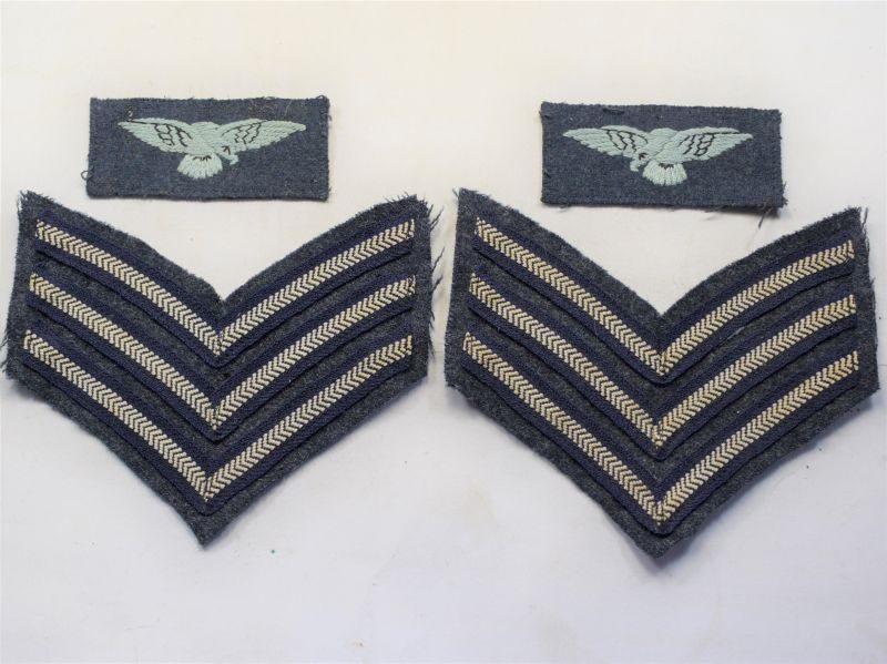AB) Excellent Original WW2 RAF Sergeants Stripes & Albatross Insignia Set