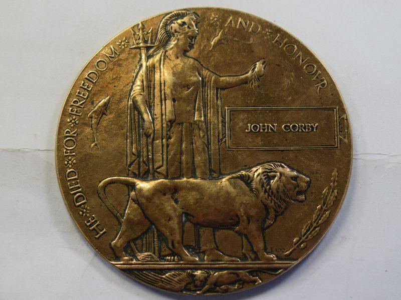 Nice Original WW1 British Memorial Plaque Dead Mans Penny to John Corby