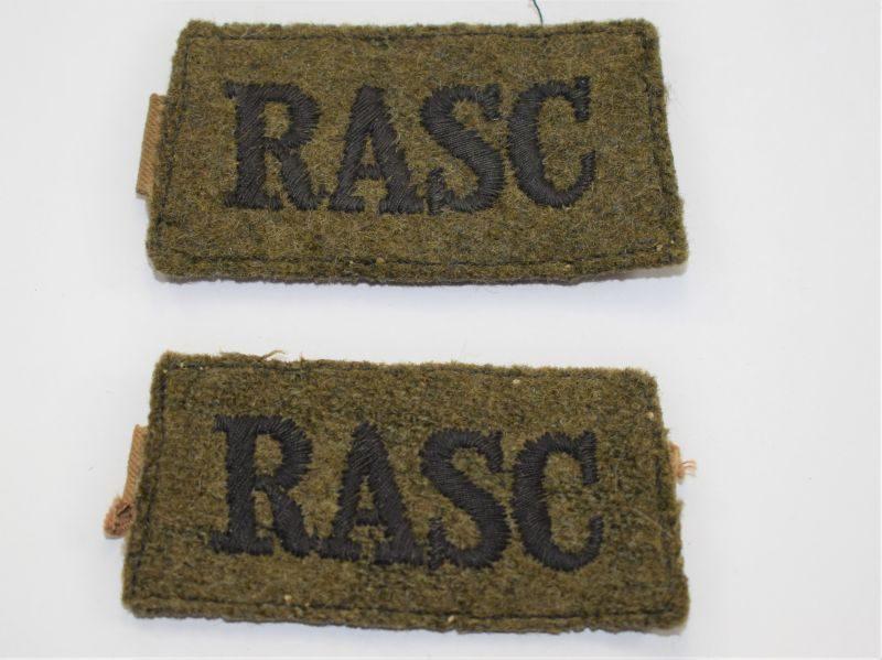 AP) Original WW2 RASC Slip On Cloth Shoulder Title Pair
