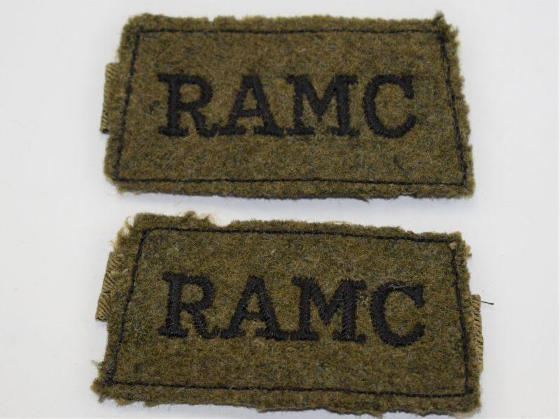 AQ) Original WW2 RAMC Slip On Cloth Shoulder Title Pair