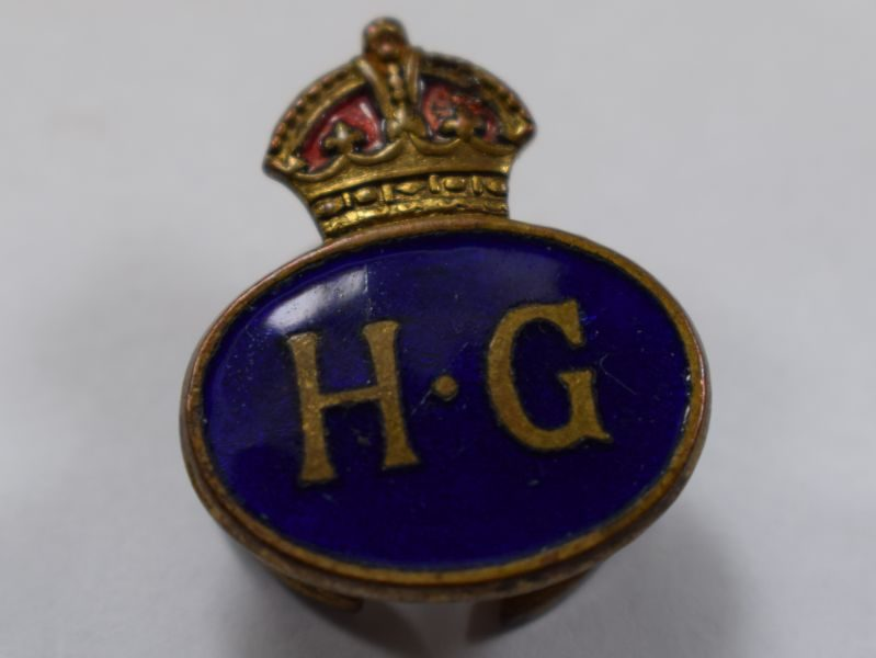 AAA) Excellent Original WW2 Home Guard Lapel Badge Oval