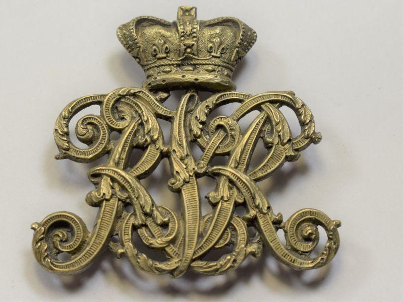 AAY) Very Nice Unidentified Original Victorian Helmet or Pouch Badge RKR?