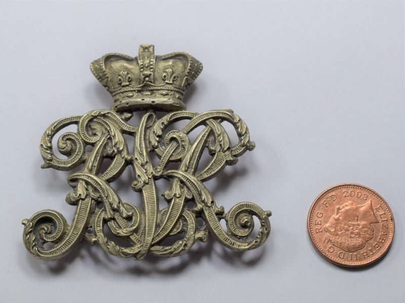 AAY) Very Nice Unidentified Original Victorian Helmet or Pouch Badge RKR?
