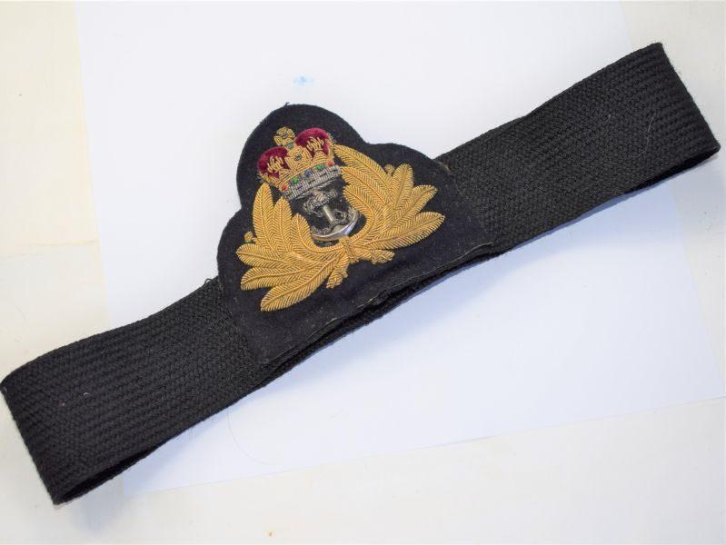68 Post WW2 Royal Navy Officers Peaked Cap Badge & Cap Band