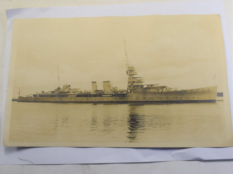 Original Photograph Unidentified WW1 WW2 Royal Navy Battleship