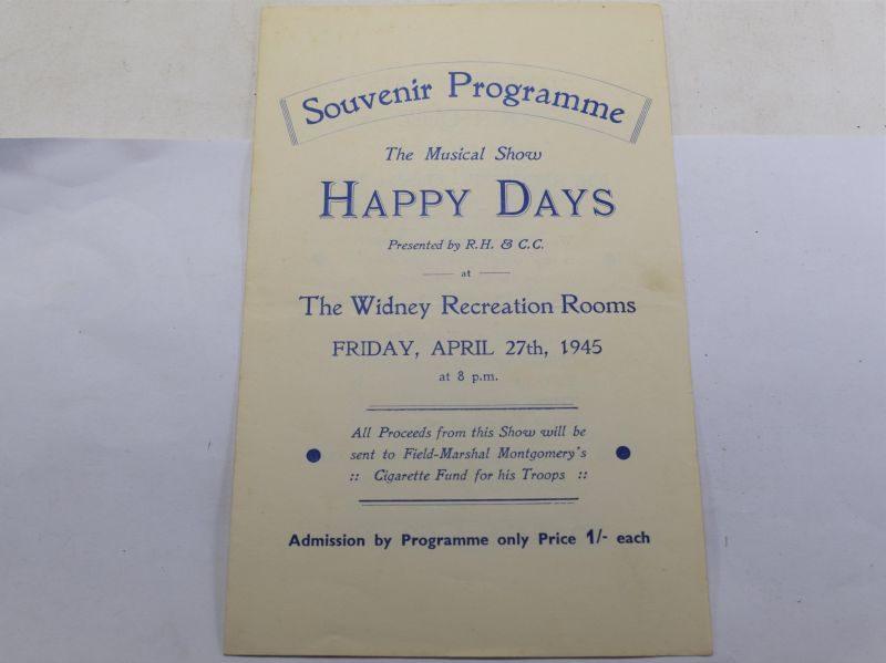 B18) Original Late WW2 Musical Show program me Happy Days April 1945