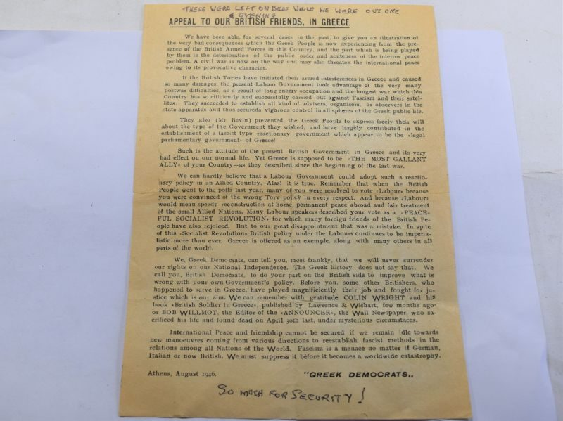 B20) Original Greek Produced Leaflet Given to British Troops Greek Civil War 1946