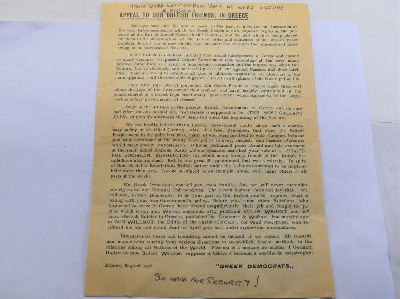 B20) Original Greek Produced Leaflet Given to British Troops Greek Civil War 1946
