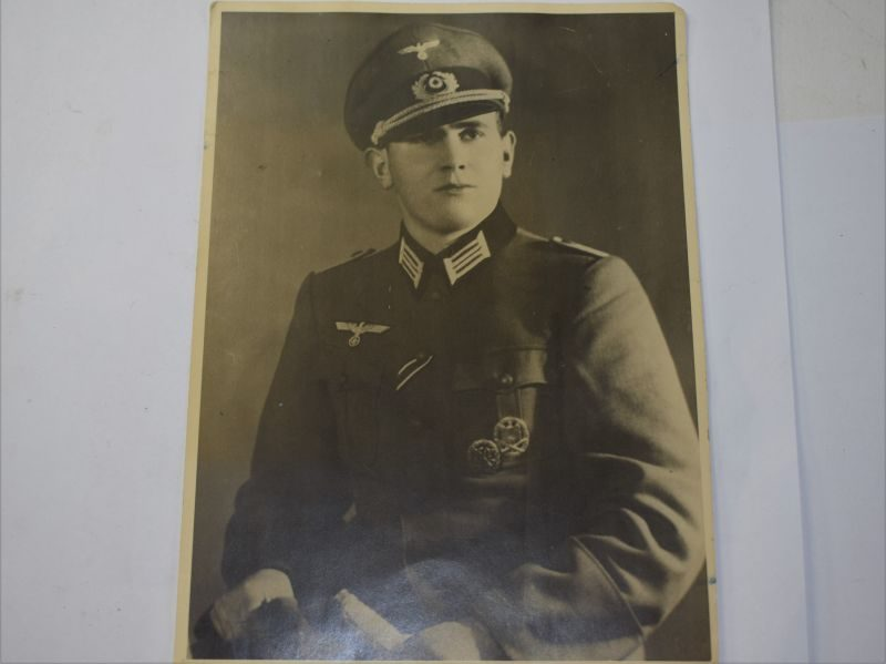 95 Large Size Portrait Photo of Nazi Officer with Communist Police Stamps to rear