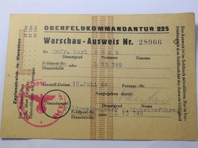 98 Original WW2 German Leave Pass for Warsaw 1944