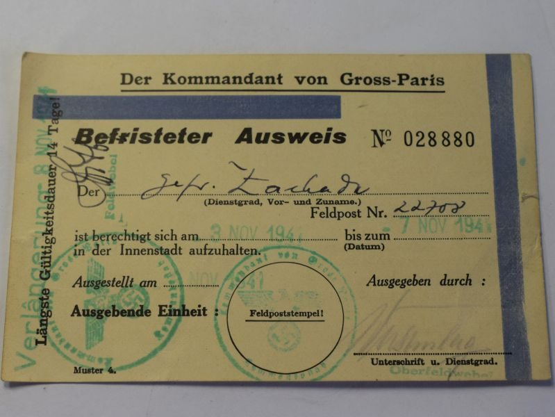 99 Original WW2 German Befristeter Ausweis Leave Pass for Paris 1941