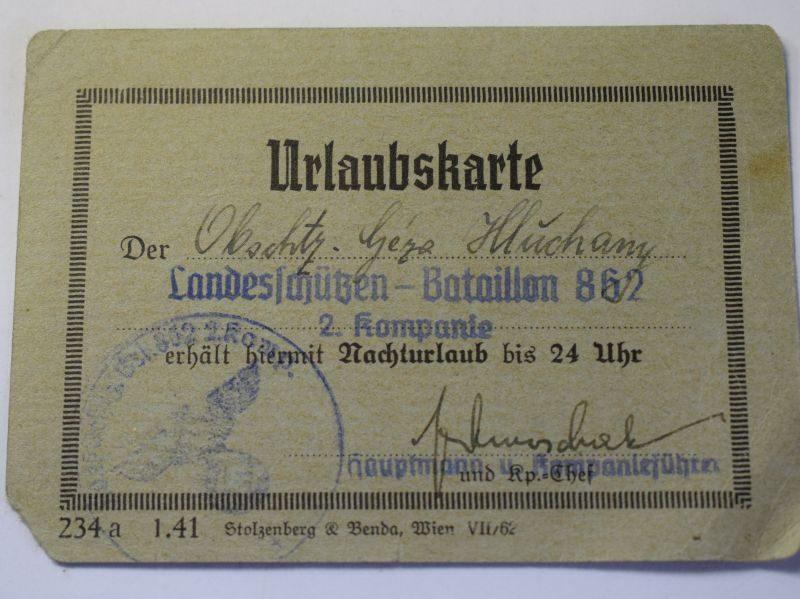 A) Original WW2 German Urlaubskarte Leave Pass 1941