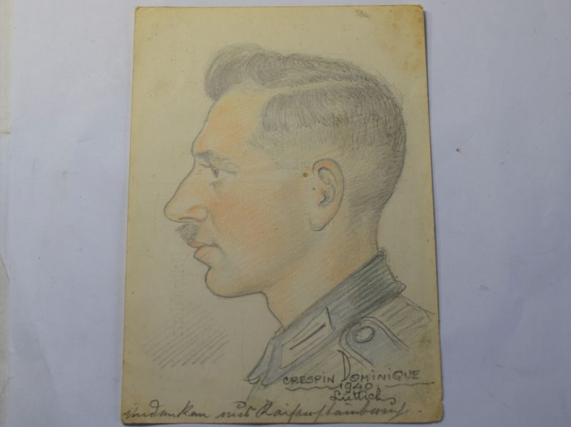 B) Nice Original Hand Drawn Portrait of a German Officer 1940