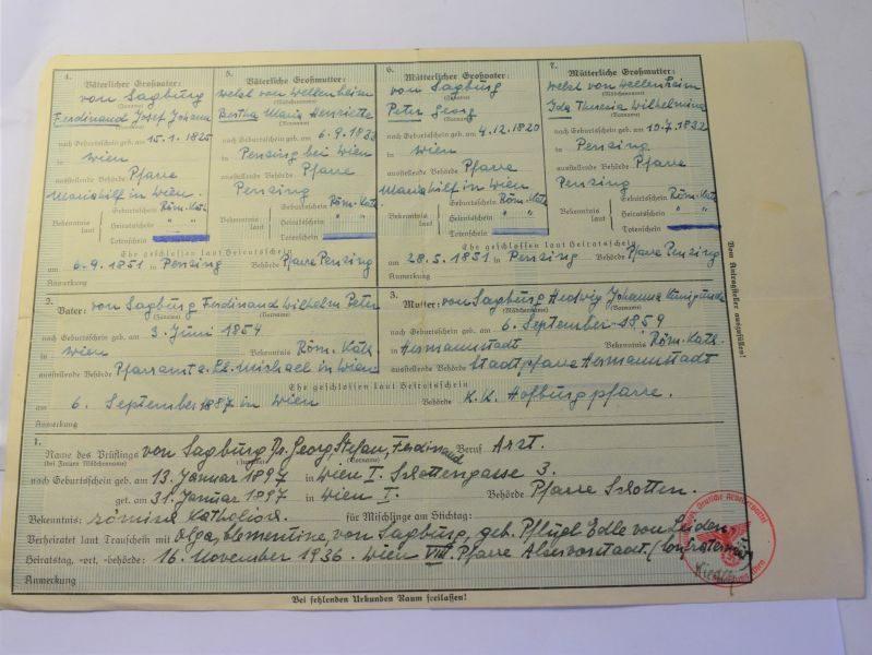D) Original WW2 Nazi Abstammungsnachweis Proof of Race etc 1938