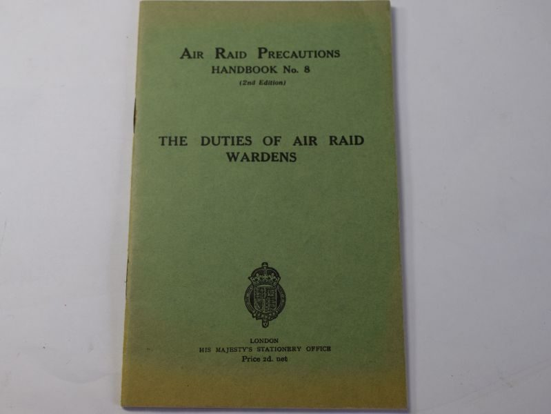 F) Original WW2 ARP Handbook No8 Duties of Air Raid Wardens 1938