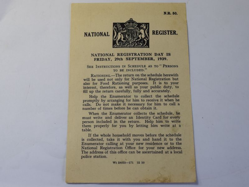 H) Original WW2 National Registration Day Leaflet 1939
