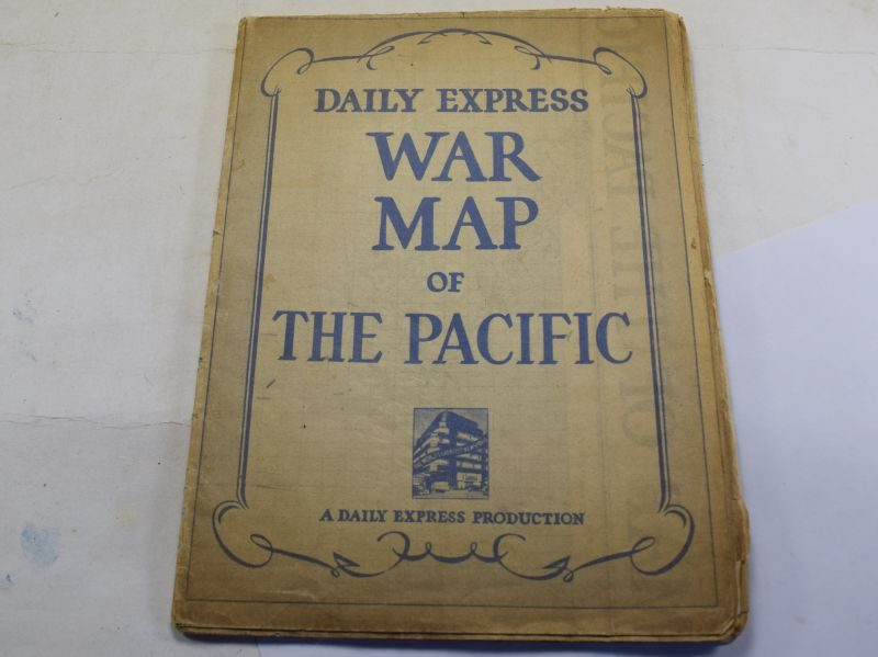 Tatty Original WW2 Daily Express War Map of The Pacific