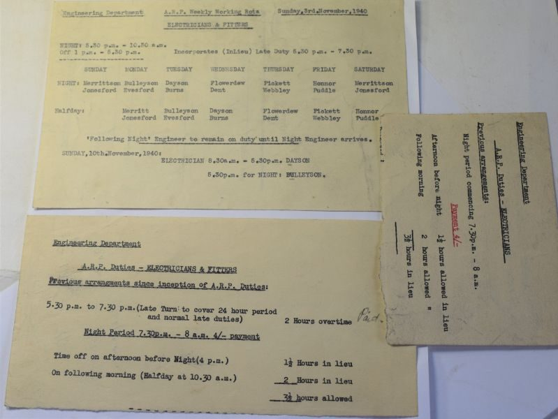 J) Set of 3 WW2 ARP Engeneering Papers, Working Rota etc 1940