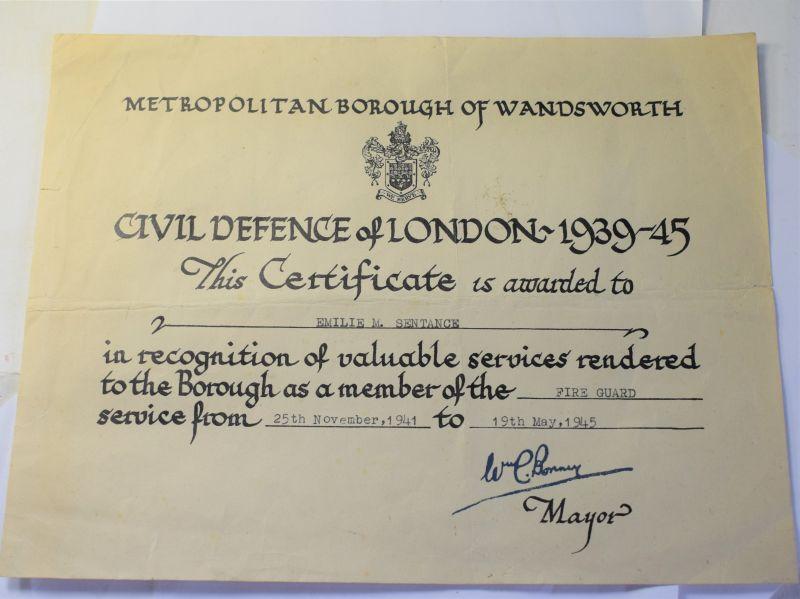 K) WW2 Metropolitan Borough Wandsworth Fire Guard Award Certificate 1941-45