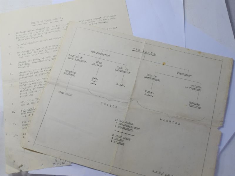 L) Original WW2 ARP Sheets on War Gasses & Duties of Works Wardens 1938
