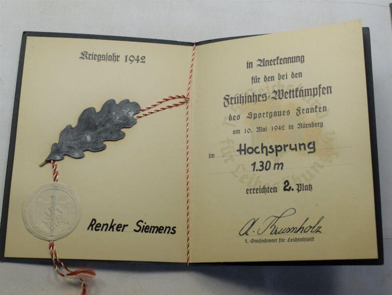 AAQ) Original WW2 Nazi NSRL Award Document Dated 1942