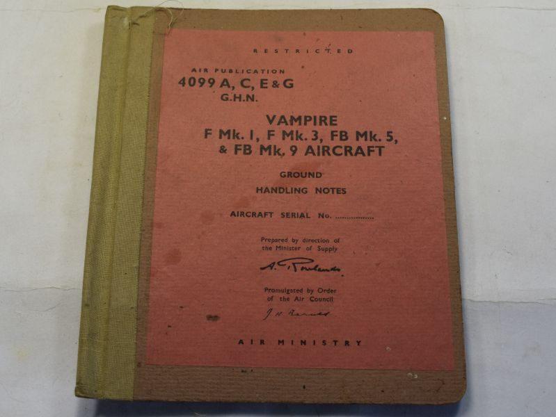 Original RAF Vampire Aircraft Ground Handling Notes Folder & Contents AM 1951