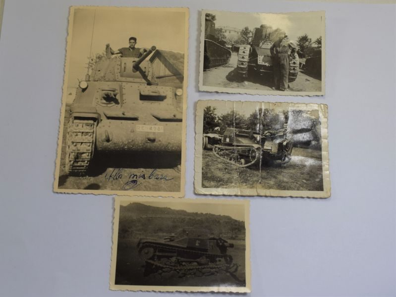 B60) Set of 4 Original WW1 WW2 Italian Military Photos of Tanks, Men etc