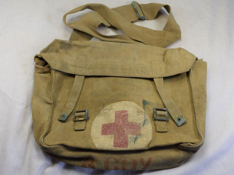 7) Good Used British Army Medics Shell Dressings Haversack 1943
