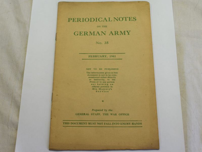101) WW2 British Pamphlet Periodical Notes on the German Army No 35 1941