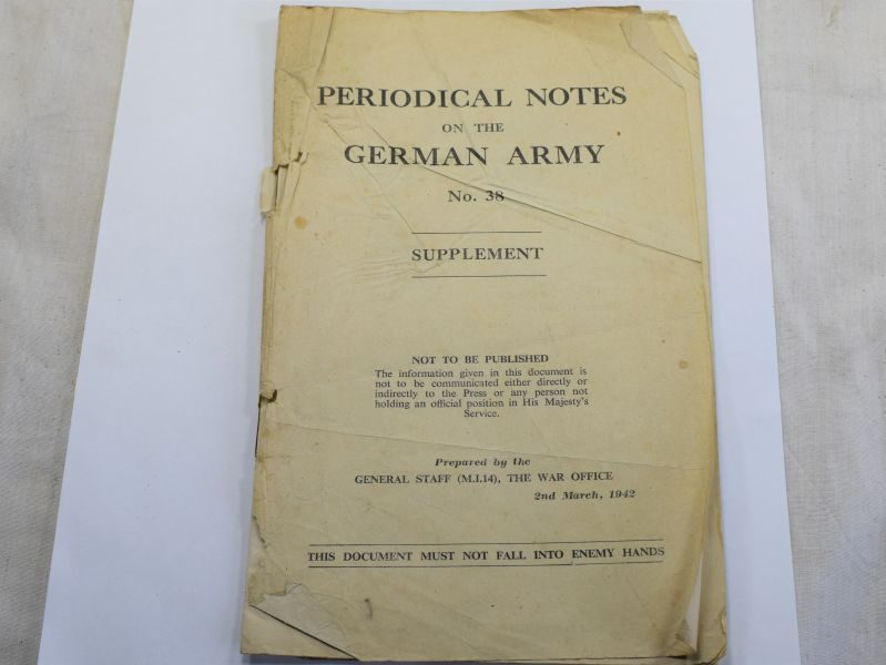 105) WW2 British Pamphlet Periodical Notes on the German Army No 38 Supplement 1942