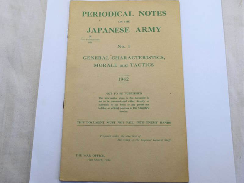 106) WW2 British Pamphlet Periodical Notes on the Japanese Army No 1 General Characteristics, Morale & Tactics