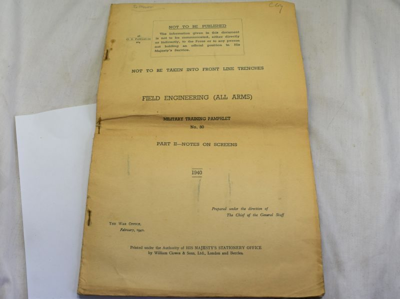 Large Military Training Pamphlet 30 Field Engineering notes on Screens Camouflage etc 1940