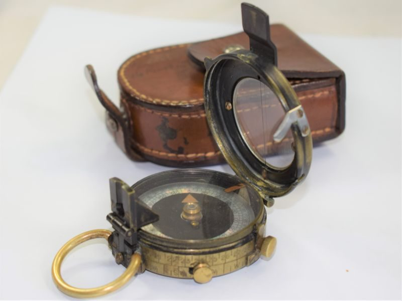 WW1 British Army Officers Verners Marching Compass & Case 16th Kings Liverpool Regt