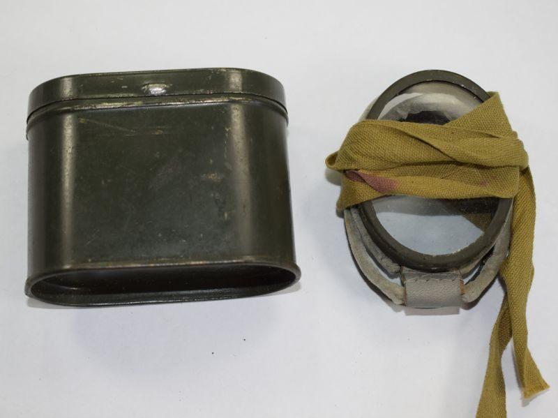Original WW2 British, German? Dust Goggles & Issue Tin