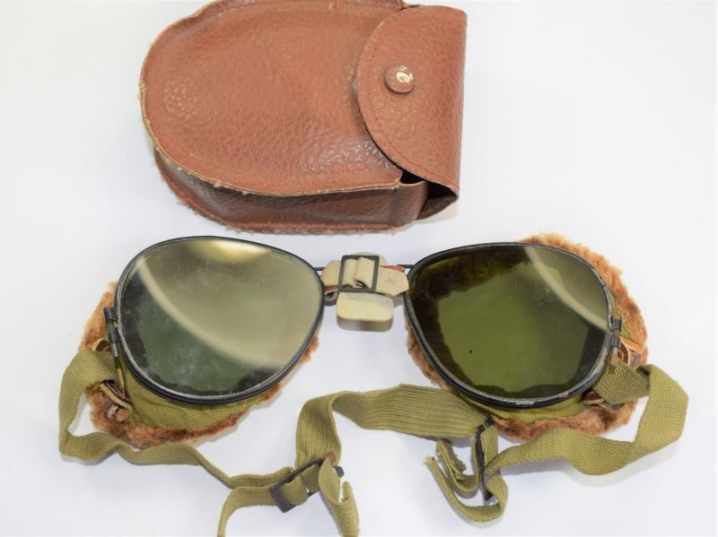 19) Good Original WW2 US Army Issue Mountain Troops Goggles & Case