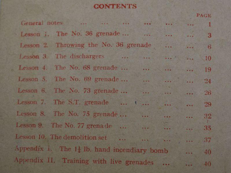 J) Original WW2 Small Arms Training Vol I Pamphlet No13 Grenade 1942