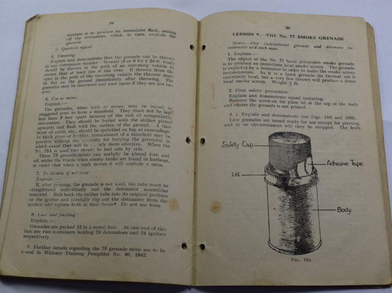 J) Original WW2 Small Arms Training Vol I Pamphlet No13 Grenade 1942