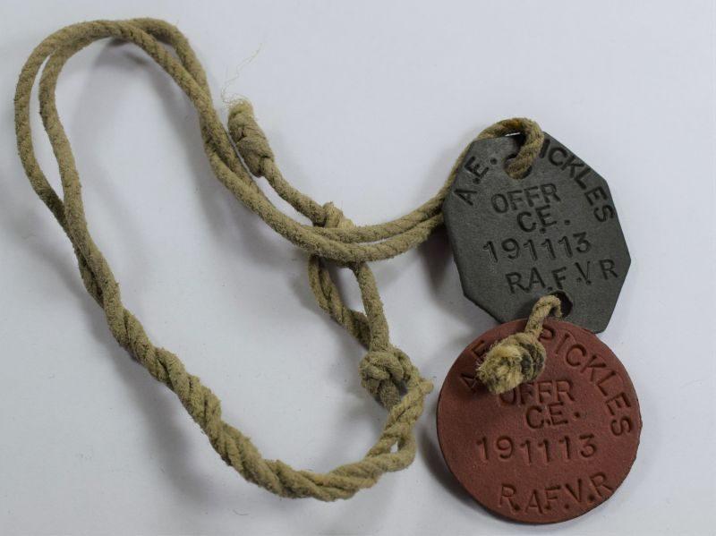 41) Excellent Original WW2 RAF Dog Tags & Neck Cord Officer 191113 A.E.Pickles RAFVR