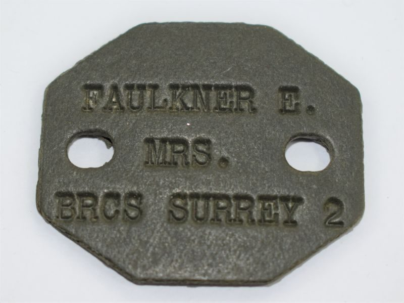 42) Original WW2 British Red Cross Society Dog Tag Mrs E.Fulkner BRCS Surrey 2