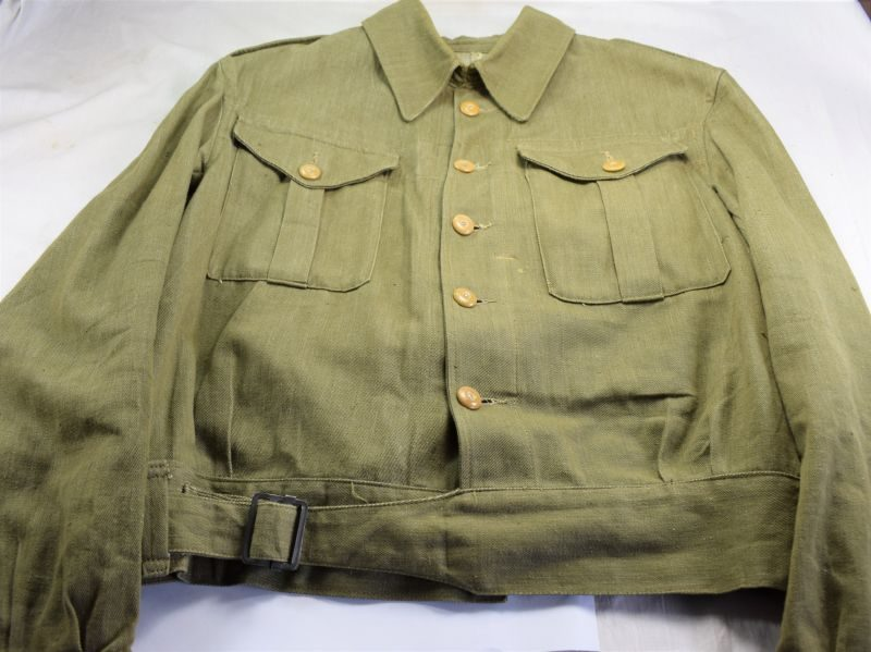 87) Early WW2 Denim Battledress Blouse British Army, Home Guard etc Large Size