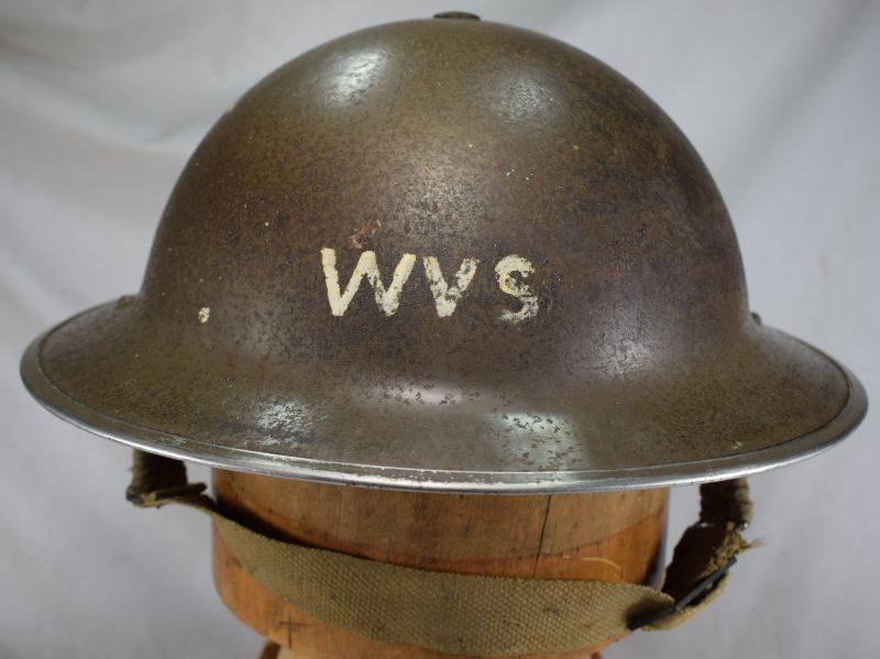 Original WW2 Steel Helmet Marked WVS Woman's Voluntary Service