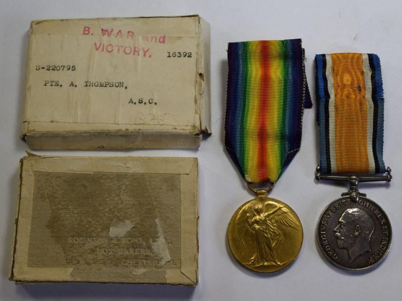 WW1 British Medal Pair & Issue Box S-220295 Pte A.Thompson ASC