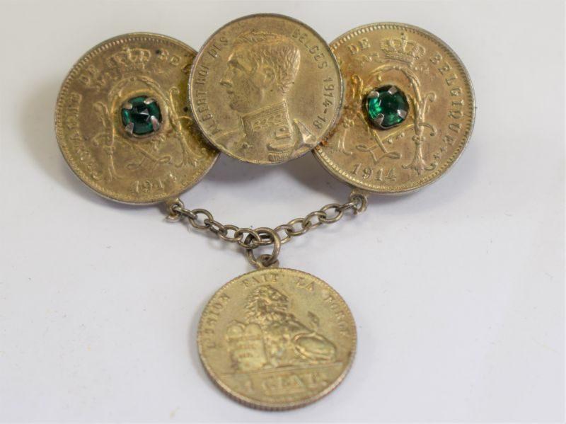 71) Nice WW1 Trench Art Souvenir Brooch Belgian Coins Albert Roi Des Belges 1914-18