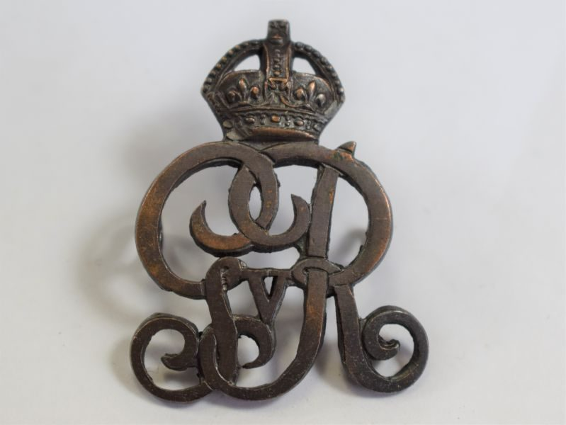 76) Original WW1 British Army Provost Staff Officers Bronze Cap Badge