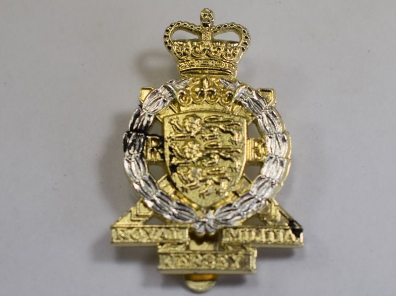78) Original Post WW2 Royal Jersey Militia Anodized Staybright Cap Badge