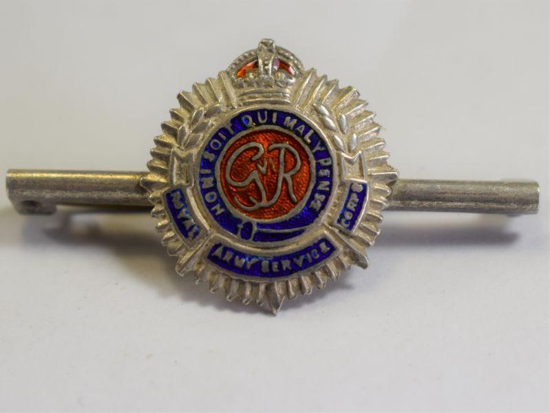 80) WW2 RASC Silver & Enamel Pin Back Sweetheart Brooch